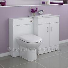 Bathroom Furniture Suite Vanity Unit & WC, Square Design White Hi-Gloss Turin