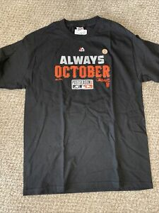 San Francisco Giants Majestic Cotton T Shirt Tee-SIZE Large Black Always October