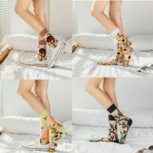 Fashion Art Women Socks Smooth Crystal Silk Transparent Crew Thin Sock Summer