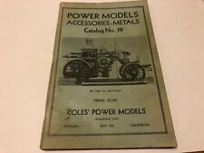 Cole's Power Models Accessories Metals Catalog No. 19 Charles Cole