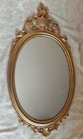 Vintage Ornate Hard Resin Hard Plastic Framed Wall Mirror 31 x 16 In.