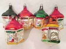 Vintage Christmas Ornament Carousel Six Sided Mercury Glass Painted Animal LOT 6