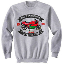 DUCATI 900 MIKE HAILWOOD - NEW COTTON GREY SWEATSHIRT ALL SIZES IN STOCK