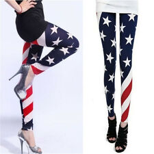 Good VISCOSE & ELASTANE SPRING AUTUM SLIM PANTS WOMEN AMERICAN FLAG LEGGINGS