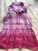 New Girls Justice Plaid Button Down Ombre Shirt Top Pink Purple Size 14-16 Plus