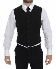 NWT $420 DOLCE & GABBANA Black Flax Cotton Dress Vest Blazer s. IT50/ US40 / L