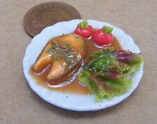 1:12 Scale Large Salmon Steak Salad On A 3.5cm Ceramic Plate Dolls House Food