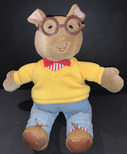 "14"" Vintage Eden 1996 Arthur Read PBS Show Plush With Glasses Brown Aardvark"