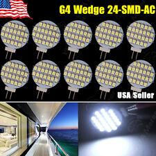 10x Pure White 12V AC G4 Base Side Pin 24-SMD Reading Marine Boat RV LED Light