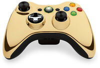 Microsoft Xbox 360 Wireless Controller - Gold Chrome - Includes Battery Cover