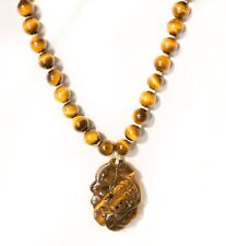"""Tiger Eye Round Bead Carved Dragon Pendant 16"""" Sterling Silver Necklace Asian"""