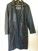 B&S exclusive REAL leather ladies trench black coat size 14