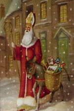 "A  ""St. Nicolas & Donkey"" Scepter, Miter, Toys Christmas Holiday Postcard - 1271"