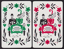2 Single VINTAGE Swap/Playing Cards COUPLE IN MOTOR CAR AUTOMOBILE FLOWERS