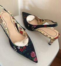 d03424d4971b ZARA WOMENS PRINTED SLINGBACK KITTEN HEEL SHOES SZ 6 NEW