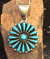 NATIVE AMERICAN Turquoise Zuni Tribe Petit Point Sterling Silver Pendant