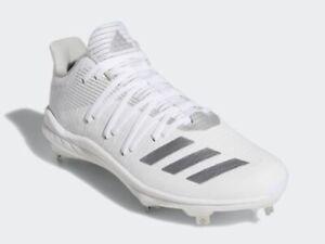 Adidas Men's Afterburner 6 Baseball Cleat G27658 White/Silver Metal - Size 8