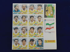 Panini WM WC WK 1998 France 98, original sheet of Iran stickers / original Bogen