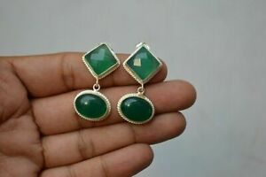 Natural Certified Sterling Silver Emerald Octagon Shape Handmade Earring For Her