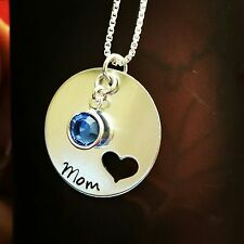 Sterling Silver Hand Stamped Mothers Name Necklace Charm w/ Swarovski Birthstone