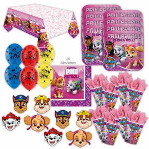Paw Patrol Pink Party Set XL 51-teilig für 8 Gäste Hundeparty Geburtstag Deko