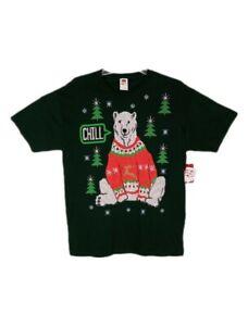 Men's Green T-Shirt Size Large  Polar Bear Chill Christmas Trees Snowflakes