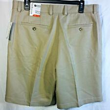 NWT VAN HEUSEN Mens Flat Front Stretch Khaki CLASSIC FIT Traveler Shorts $50-34