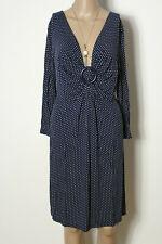 9f4b6fbcededab bonprix Kleid Gr. 40-42 blau-weiß 3/4-Arm Polkadot
