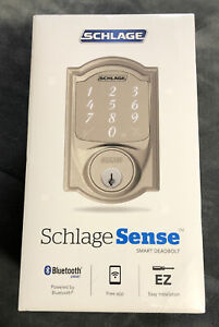 NEW Schlage Sense Camelot Trim Smart Deadbolt - Satin Nickel - BE479AACAM619