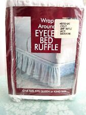 Madison Wrap Around White Eyelet Bed Skirt Ruffle-Queen/King - New