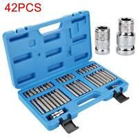 42x Tools Torx Star Hex Allen Spline Long Short +Case Screwdriver Bit Kit Set UK