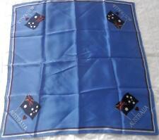 VINTAGE SOUVENIR SCARF SQUARE I LOVE AUSTRALIA AUSTRALIAN FLAG BLUE BACKGROUND