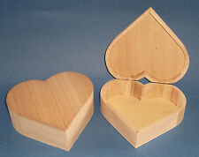 Natural Wooden Heart Shaped Box hinged to decorate paint decoupage yourself