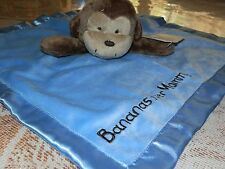 SECURITY BLANKET CARTERS NEW BROWN MONKEY BANANAS OVER MOMMY SATIN VELOUR BLUE