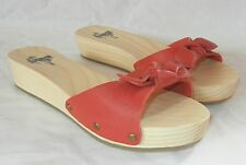 Urban Outfitters Kimchi Blue Women's Leather Strap Wood Sole Slides Sandals sz 7