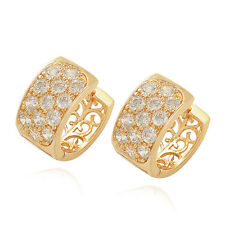 Free shipping 9K Solid Gold Filled 3-Row Crystal Womens Hoop earing So Shiny