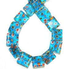 """G4036 Blue w Multiple Color Flowers 14mm Flat Square Millefiori Glass Beads 14"""""""