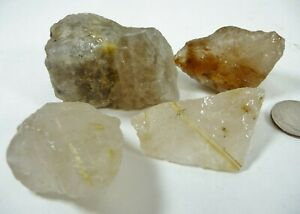 Rutilated Quartz Natural Rough Crystal Pieces Brazil 122 grams