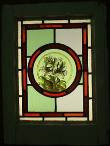 """VICTORIAN ENGLISH LEADED STAINED GLASS WINDOW hand Painted Flowers 14"""" x 18.75"""""""