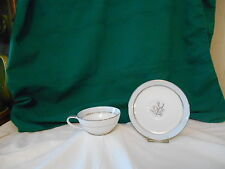 """Noritake """"Bluebell"""" cup & saucer Blue Band & Flowers, Gray Leaves, Silver Trim"""
