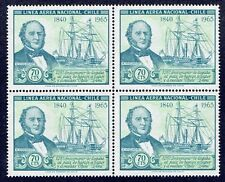 CHILE 1966 AIR MAIL STAMP # 698 MNH BLOCK OF FOUR SAILING SHIP W. WHEELWRIGHT