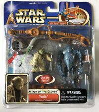 NEW Star Wars Attack of the Clones Yoda & Battle Droid Hasbro 2002