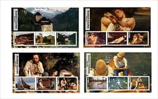 2017 SEURAT GIORGIONE CAILLEBOTTE COURBET 12  ART PAINTINGS  MNH UNPERFORATED