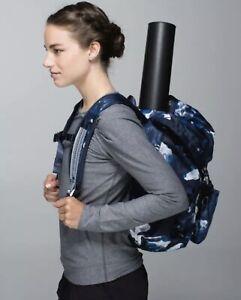 VGUC Lululemon TRAVELING YOGINI BACKPACK Floral Inkwell Blue Calm Rucksack Bag