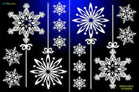 14 SNOWFLAKES STICKERS REMOVABLE CHRISTMAS HOME WINDOW DECORATIONS DECOR GIFT+