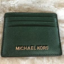 NWT MICHAEL KORS SAFFIANO LEATHER JET SET TRAVEL LARGE CARD HOLDER IN MOSS