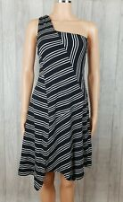 Maeve Anthropologie Black White Moka Striped One Shoulder Dress Size XS New