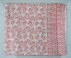 Ethnic Hand Block Printed Indian Cotton Applique Bedspread Blanket Kantha Quilt