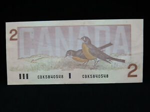 1986 $2 Bank of Canada Banknote Bill CBK5840548 Bonin Thiessen VF Grade