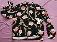 Billabong Women's Black Retro Bloom Floral Jacket Size S Small New With Tags